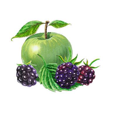 Green Apple With Blackberries Poster by Irina Sztukowski