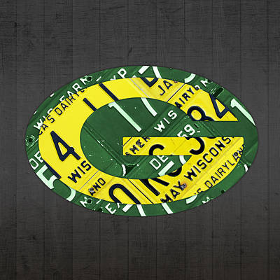Green Bay Packers Football Team Retro Logo Wisconsin License Plate Art Poster by Design Turnpike