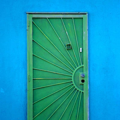 Green Door On Blue Wall Poster by Art Block Collections