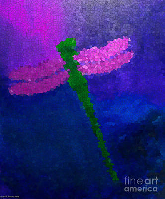 Poster featuring the painting Green Dragonfly by Anita Lewis