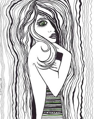 Green Eyed Lady Poster by Anna Kaszupski