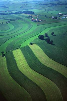 Green Farm Strips And Contours Aerial Poster by Blair Seitz
