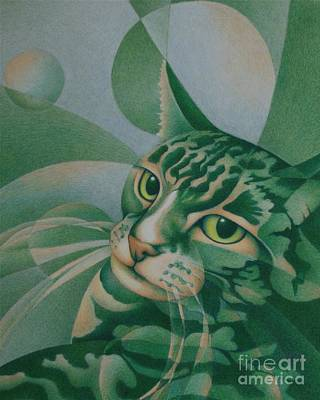 Poster featuring the painting Green Feline Geometry by Pamela Clements