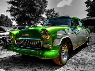 Green Flame '55 Chevy 001 Poster
