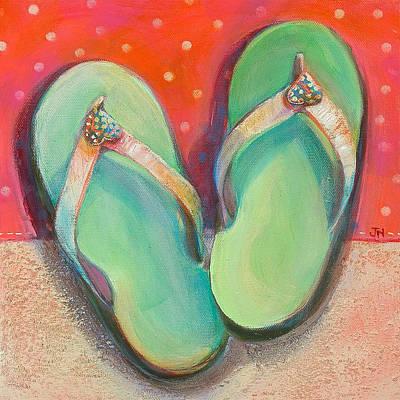 Green Flip Flops Poster by Jen Norton