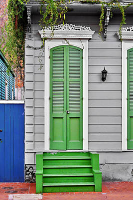 Green Front Door New Orleans Poster by Christine Till