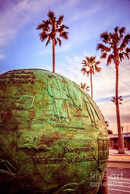 Green Globe At Newport Beach Pier Picture Poster by Paul Velgos