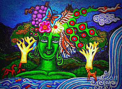 Green Goddess With Waterfall Poster by Genevieve Esson