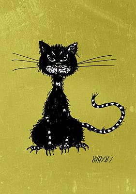 Green Grunge Evil Black Cat Poster by Boriana Giormova