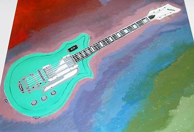 Poster featuring the painting Green Guitar by Magdalena Frohnsdorff