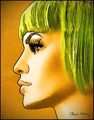Green Hair Poster by Chuck Staley
