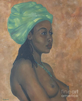 Poster featuring the painting Green Headwrap by Dwayne Glapion