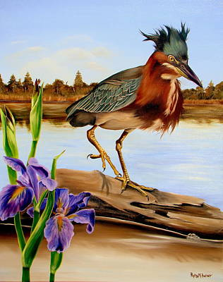 Poster featuring the painting Green Heron Dance by Phyllis Beiser