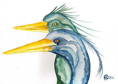 Green Herons Poster by Alexandra  Sanders