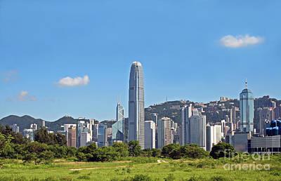 Green Hong Kong Skyline Poster by Lars Ruecker