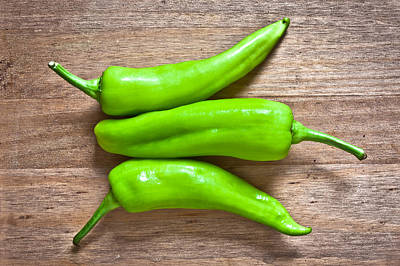 Green Jalapeno Peppers Poster by Tom Gowanlock