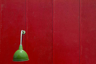 Green Lamp Red Wood Poster by Rebecca Cozart