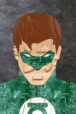 Green Lantern Superhero Portrait Recycled License Plate Art Poster