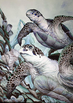 Green Loggerhead Poster by William Love