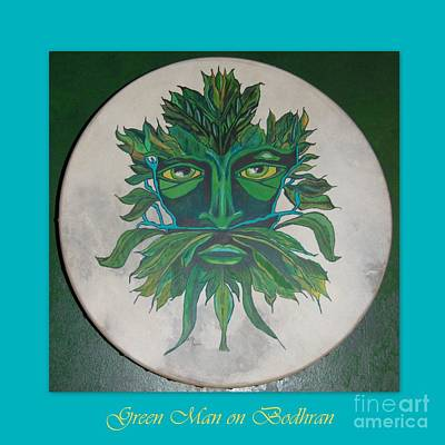 Poster featuring the painting Green Man On Bodhran by Linda Prewer