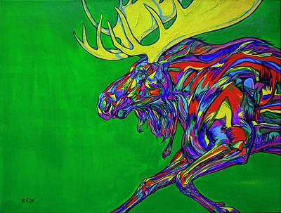 Green Mega Moose Poster by Derrick Higgins