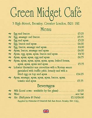 Green Midget Cafe Menu Parchment Poster