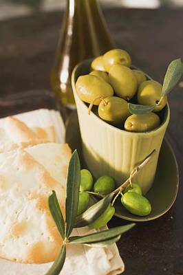 Green Olives And Crackers Poster