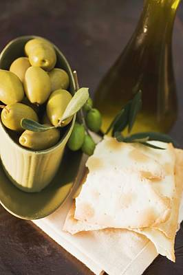 Green Olives In Bowl, Crackers Beside It Poster