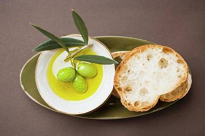 Green Olives On Twig In Bowl Of Olive Oil, White Bread Poster
