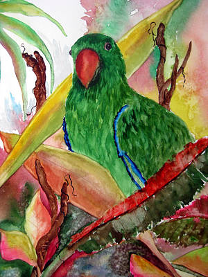 Green Parrot Poster by Lil Taylor