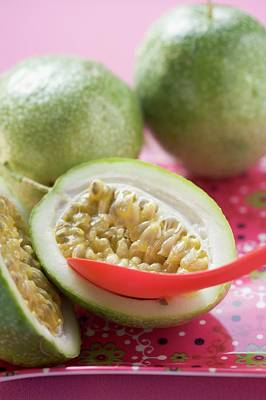 Green Passion Fruits, One Halved, With Spoon Poster