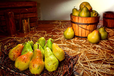Green Pears In Rustic Basket Poster