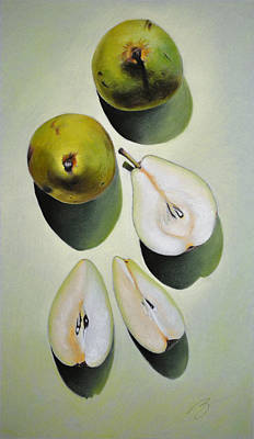Green Pears - Pastel Poster