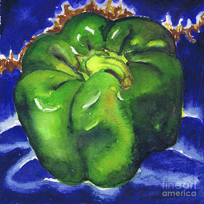 Poster featuring the painting Green Pepper On Blue Tile by Susan Herbst