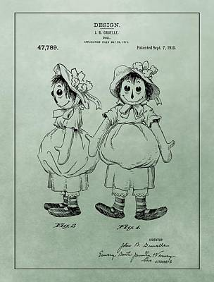 Green Raggedy Ann Patent Poster by Dan Sproul