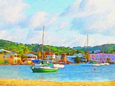 Green Sailboat On Mooring - Horizontal 1 Poster