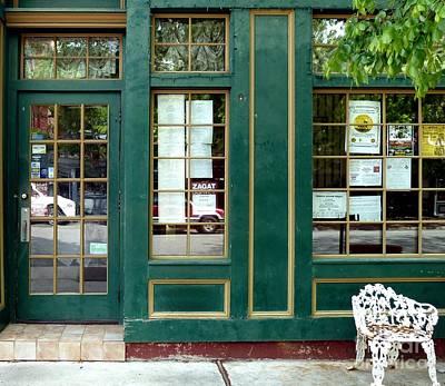 Green Shop Door Poster by Sally Simon