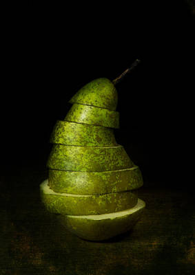 Green Sliced Pear Poster
