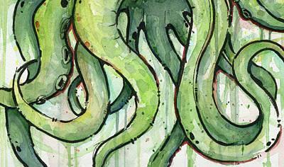 Green Tentacles Poster by Olga Shvartsur
