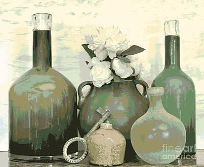 Green Vases Still Life Poster
