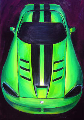 Poster featuring the painting Green Viper by Sheri  Chakamian