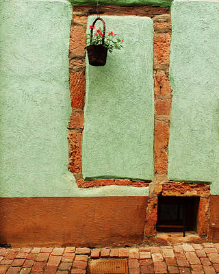 Green Wall And Hanging Basket In Alsace France Poster
