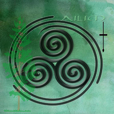 Green Watercolor Ailim Celtic Symbol Poster by Kandy Hurley