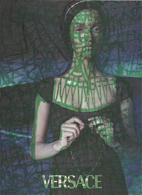 Green Web Pop Graffiti Model Poster