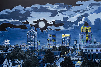 Poster featuring the painting Greensboro Night Skyline by John Gibbs