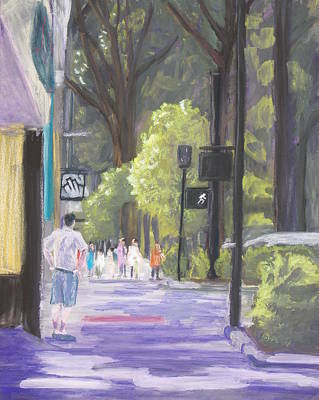 Poster featuring the pastel Greenville Street Scene by Robert Decker