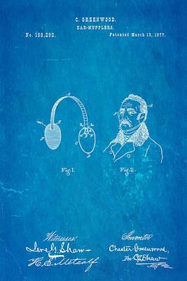 Greenwood Ear Mufflers Patent Art 1877 Blueprint Poster by Ian Monk