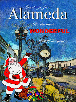 Alameda Christmas Greeting Poster by Linda Weinstock