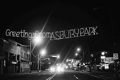 Greetings From Asbury Park New Jersey Black And White Poster by Terry DeLuco