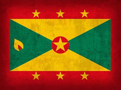 Grenada Flag Vintage Distressed Finish Poster by Design Turnpike
